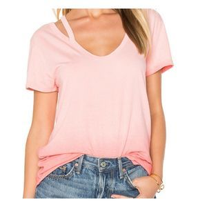 Pam & Gela top sunset pink split v neck tee